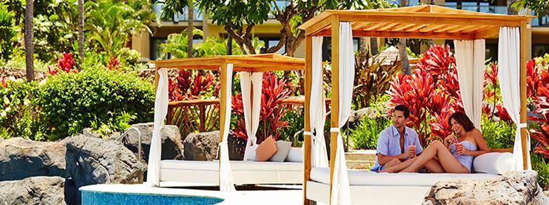 Couple in Sunset Pool cabana & Sunset Pool \u0026 Day Beds - Paradise Poolside | Montage Kapalua Bay