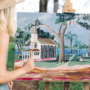 Artist painting the wedding chapel