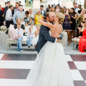 Wedding couple has their first dance