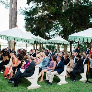Wedding guests seated watching ceremoney
